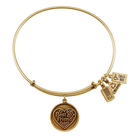 display slide 1 of 3 - Best Friend Charm Gold Expandable Bangle Bracelet by Wind & Fire - selected slide