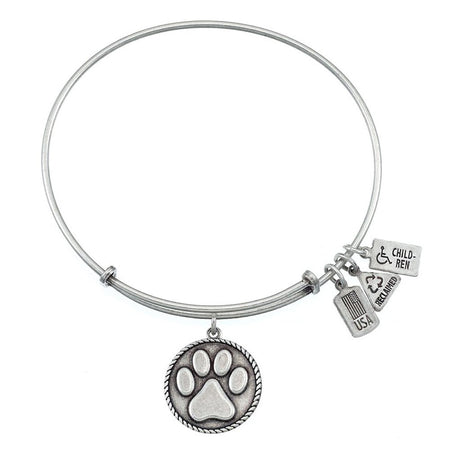 Wind & Fire Paw Print Charm Bangle Bracelet