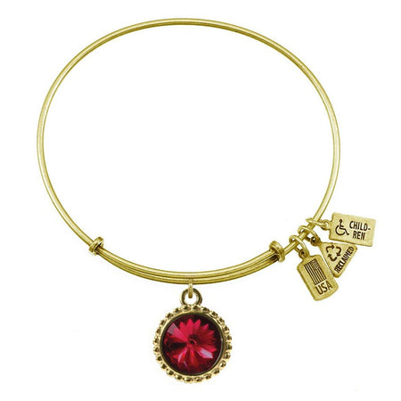 display slide 1 of 2 - January Swarovski Crystal Birthstone Charm Gold Bracelet - selected slide