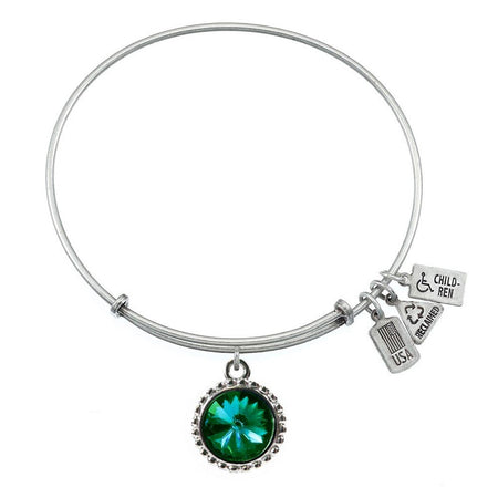 Wind & Fire May Emerald Swarovski Birthstone Charm Bangle Bracelet