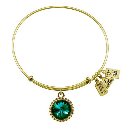 display slide 1 of 2 - May Swarovski Birthstone Gold Charm Bracelet from Wind and Fire - selected slide