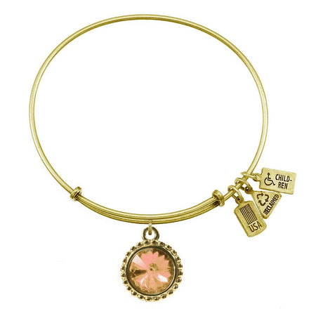 November Citrine Swarovski Crystal Charm Gold Bangle Bracelet