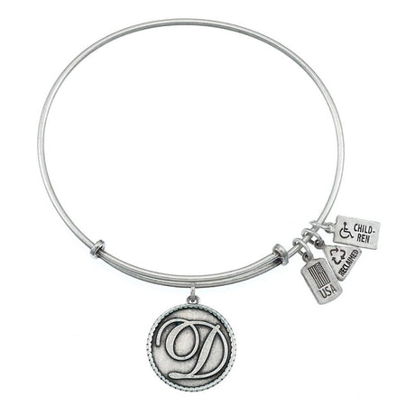 Wind & Fire Initial D Engravable Charm Bangle Bracelet in Silver