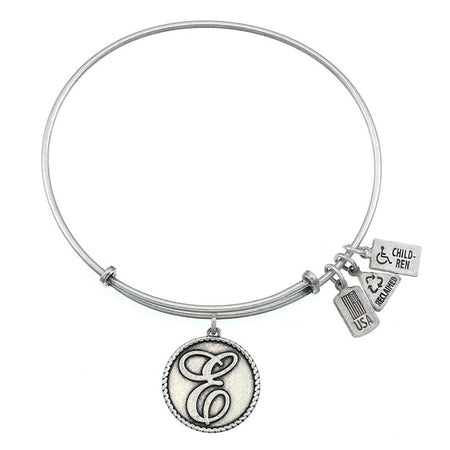 display slide 1 of 3 - Wind & Fire Engravable Round E Initial Charm Bangle Bracelet - selected slide