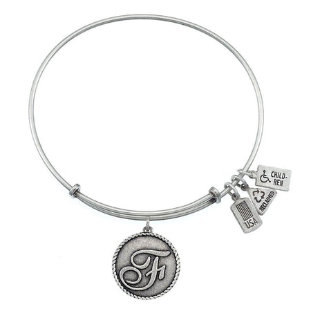 Wind & Fire Letter F Initial Charm Bangle Bracelet