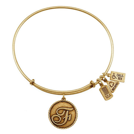 F Initial Round Tag Bangle Bracelet with Antique Gold Finish