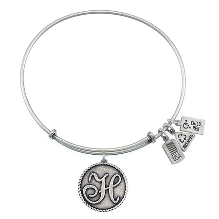 Wind & Fire Letter H Initial Dangling Charm Bangle Bracelet