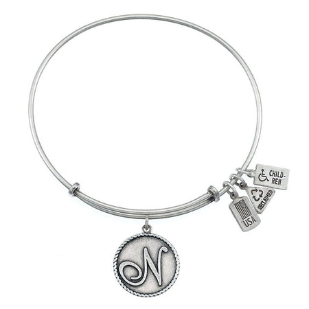 Wind & Fire Letter N Initial Charm Bracelet with Antique Silver Finish