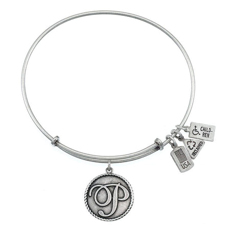 display slide 1 of 3 - Wind & Fire Letter P Initial Charm Expandable Bangle Bracelet  - selected slide