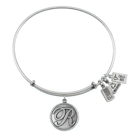 Wind & Fire Letter R Initial Charm Silver Bangle Bracelet