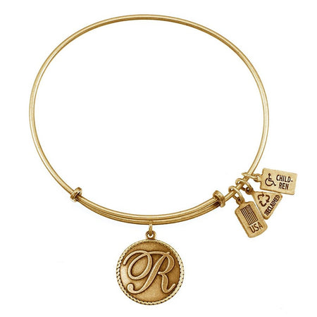 R Initial Engravable Round Tag Adjustable Gold Bangle Bracelet