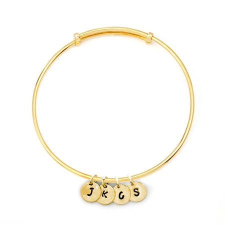 Hand Stamped Mini Four Initial Gold Bangle Bracelet