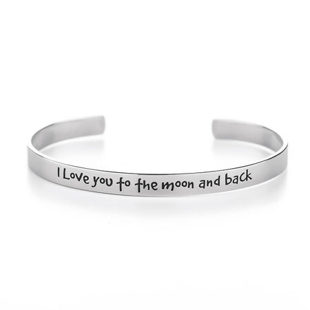 I Love You To The Moon and Back Engravable Cuff Bracelet