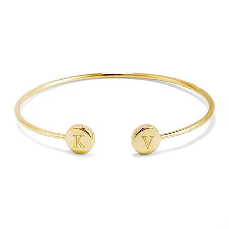display slide 1 of 2 - Engravable Signet Gold Cuff Bracelet - selected slide