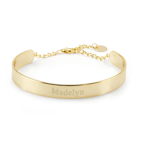 display slide 1 of 2 - Engravable Gold Name Cuff Bracelet - selected slide