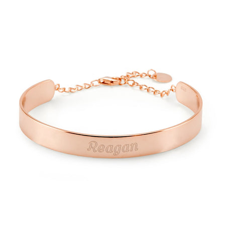 display slide 1 of 2 - Engraved Rose Gold Name Cuff Bracelet - selected slide