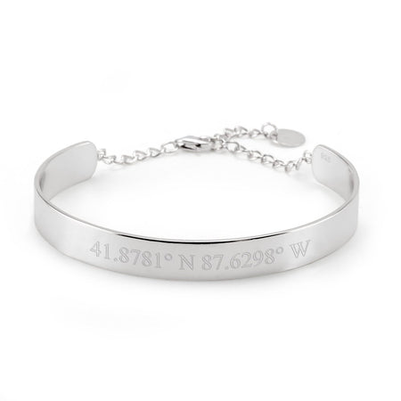 display slide 1 of 3 - 925 Silver Name Engraved Cuff Bracelet - selected slide