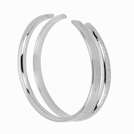 2 Piece Sisters Silver Cuff Bracelet Set by Stella Valle