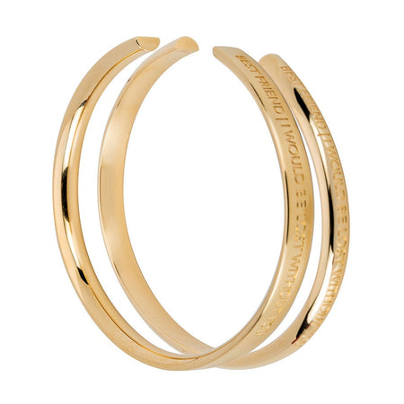 display slide 1 of 2 - Best Friend Gold Cuff bangle Bracelet Set by Stella Valle  - selected slide