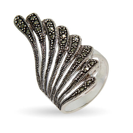 Marcasite Feather Cocktail Ring