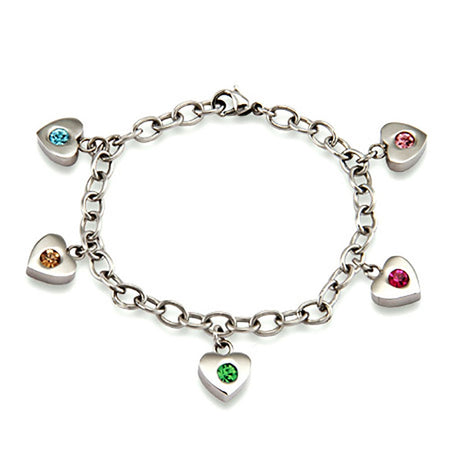 Five Birthstone Family of Hearts Bracelet