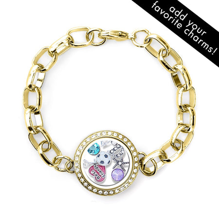 display slide 1 of 2 - Gold CZ Round Floating Locket Link Bracelet - selected slide