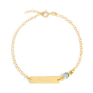 Custom Bezel Set Birthstone Gold Name Bracelet