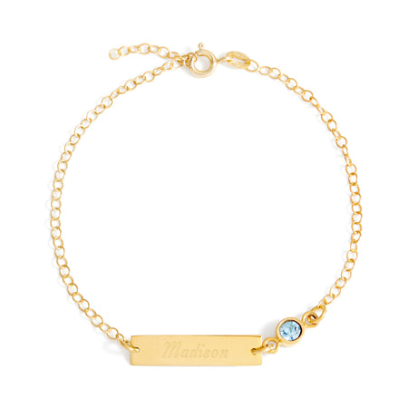 display slide 1 of 3 - Gold Custom Birthstone Name Bar Bracelet in Plated Gold - selected slide