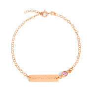 Custom Coordinate Birthstone Rose Gold Bracelet