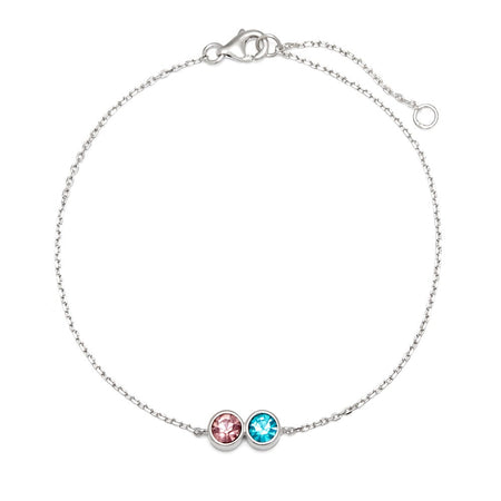 display slide 1 of 7 - 2 CZ Personalized Birthstone Bracelet - selected slide