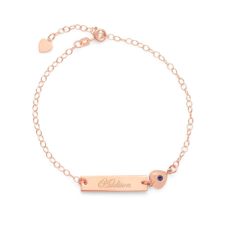 display slide 1 of 2 - Custom Made Rose-Gold Name Bar CZ Heart Charm Bracelet - selected slide