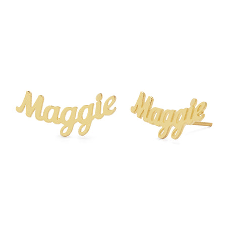 Magnolia Script Gold Curved Name Earrings