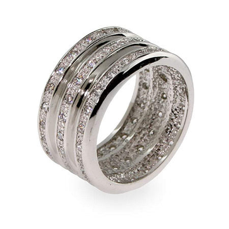 Triple Row CZ Wide Sterling Silver Ring