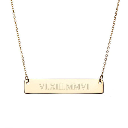 14K Gold Roman Numeral Bar Necklace