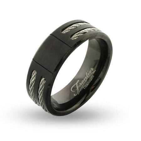 display slide 1 of 2 - Black Titanium Engravable Signet Ring with Double Cable Inlay - selected slide