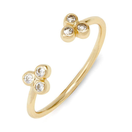 CZ Cluster Gold Plated Open Center Stackable Cuff Ring