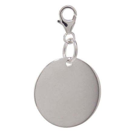 display slide 1 of 1 - Sterling Silver Engravable Round Tag Charm  - selected slide