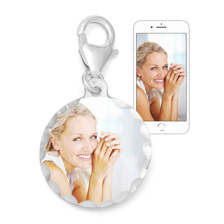 Custom Round Color Photo Silver Charm