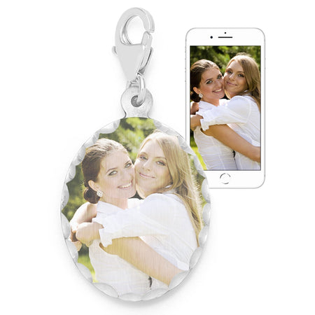 Oval Color Photo Silver Charm