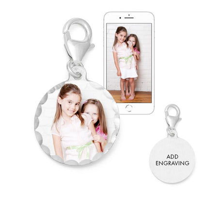 display slide 1 of 4 - Custom Petite Round Photo Wedding Bouquet Charm - selected slide
