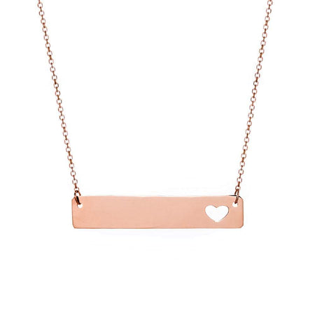 display slide 1 of 1 - Engravable 14K Rose Gold Name Bar with Heart Cut Out - selected slide