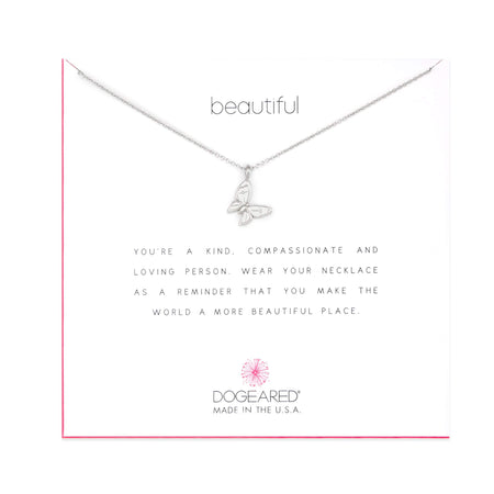 Dogeared Beautiful Butterfly Silver Necklace