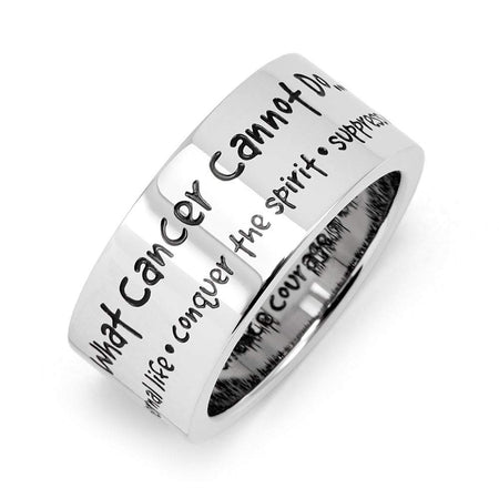 display slide 1 of 2 - What Cancer Cannot Do Stainless Steel Ring - selected slide