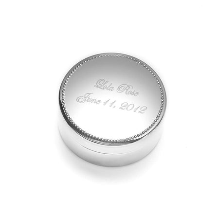 Engravable Round Jewelry Box with Beaded Edging