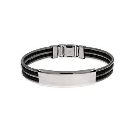display slide 1 of 1 - Mens Triple Row Cable and Rubber ID Bracelet - selected slide