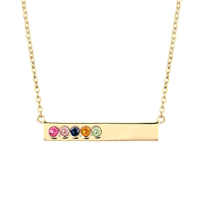5 Birthstone Gold Name Bar Necklace