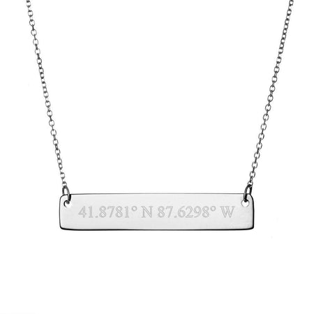 Custom Coordinate Sterling Silver Bar Necklace