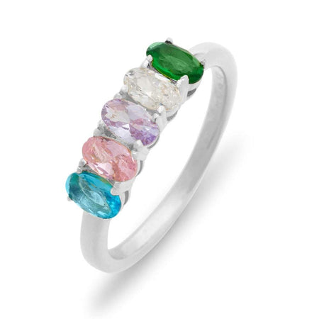 Petite Oval 5 Stone Sterling Silver Birthstone Ring