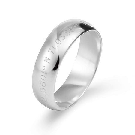6mm Custom Made Latitude And Longitude Sterling Silver Band