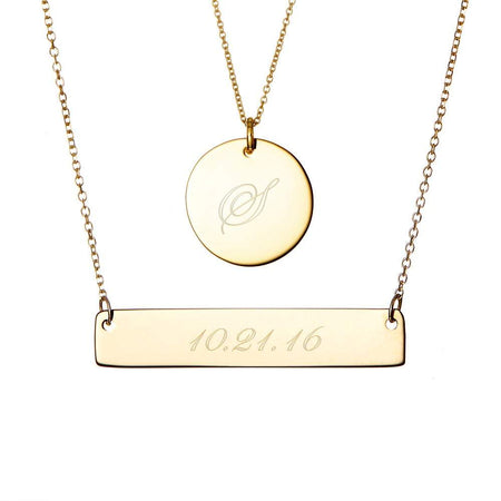 14K Gold Bar and Round Tag Layered Pendant Set
